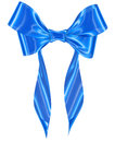 Blue ribbon bow on white background image isolated Stock Image