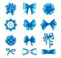 Blue ribbon bows set. Silk satin gift bows realistic vector Royalty Free Stock Photo