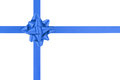 Blue ribbon cross with gift bow isolated on white Royalty Free Stock Photo