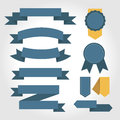 Blue ribbon set, flat design Royalty Free Stock Photo