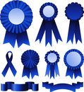 Blue ribbons award Royalty Free Stock Photography