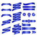 Blue Ribbons Isolated On whte Background, Vector illustration, Graphic Design Useful For Your Design or banners for your text. Log Royalty Free Stock Photo