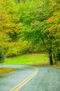 Blue ridge parkway in the fall after a rain Stock Image