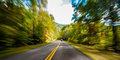 Blue ridge parkway view of the with motion blur Royalty Free Stock Photo