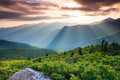 Blue ridge pinnacle north carolina sunset view from the one of the highest peaks in the main front of virginia and Royalty Free Stock Photography