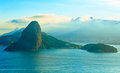 Blue rio de janeiro sugarloaf mountain from behind Royalty Free Stock Images