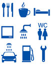 Blue road icons with auto service signs Stock Photography