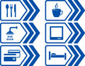 Blue road set with arrow modern and icons Royalty Free Stock Photo