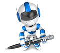 Blue robot character ballpoint pen handwriting create d humanoid robot series Stock Photography
