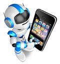 Blue robot character big smartphone touch create d humanoid robot series Royalty Free Stock Photography