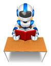 Blue robot character desk reading book create d humanoid robot series Stock Image