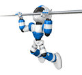 Blue robot character is hanging in horizontal bar create d hum humanoid series Stock Images