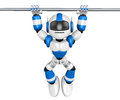 Blue robot character hanging horizontal bar create d humanoid robot series Royalty Free Stock Photos