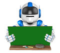 Blue robot character holding blackboard both hands create d humanoid robot series Royalty Free Stock Photos