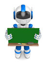 Blue robot character is holding a blackboard with both hands create d humanoid series Royalty Free Stock Image