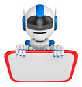 Blue robot character is holding a blackboard with both hands create d humanoid series Royalty Free Stock Images