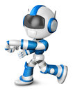Blue robot character punching to left create d humanoid robot series Royalty Free Stock Photos