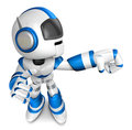 Blue robot character punching to right create d humanoid robot series Stock Photography