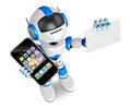 Blue robot character smart phone left hand holding business card your right hand create d humanoid robot series Stock Photo