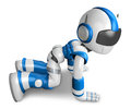 Blue robot character throw herself my feet begged my pardon create d humanoid robot series Stock Image