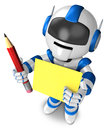 Blue robot Grasp a pencil and board Royalty Free Stock Photography