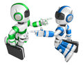 Blue robot green robot face each other point finger create d humanoid robot series Stock Photo
