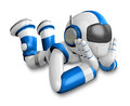 Blue robot a happy fall prostrate create d humanoid series Royalty Free Stock Photography