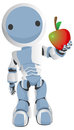 Blue Robot Holding Apple Out to Viewer Stock Photos