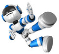 The blue robot on kicks. 3D Robot Character Design Royalty Free Stock Photos