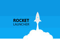 Blue rocket and white cloud, icon in flat style, vector illustration Royalty Free Stock Photo