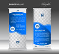 Blue Roll up banner template advertisement stand poster