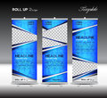 Blue Roll Up Banner template vector illustration Royalty Free Stock Photo