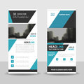 Blue roll up business brochure flyer banner design , cover presentation abstract geometric background, modern publication x-banner