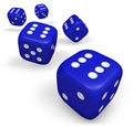 Blue rolling dice rendering d of five showing number six illustration isolated on white background Royalty Free Stock Photo