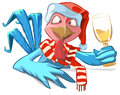 Blue Rooster symbol 2017. Santa Cock drink champagne Royalty Free Stock Photo