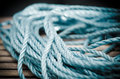 Blue rope close up shot of a Royalty Free Stock Images