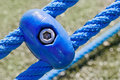 Blue ropes and connecting links closeup Royalty Free Stock Image