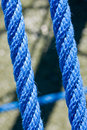 Blue ropes and connecting links closeup Stock Photography