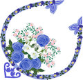Blue rose decorated ornament corner illustration with element Stock Image