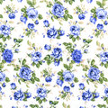 Blue rose fabric background fragment of colorful retro tapestry textile pattern with floral ornament useful as background Stock Photography
