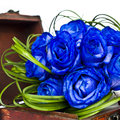 Blue roses bouquet bridal with in a box Royalty Free Stock Photo