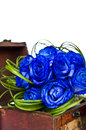 Blue roses bouquet in wooden box bridal with Stock Images