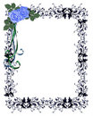 Blue Roses Ornamental Invitation Border Royalty Free Stock Image