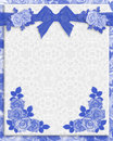 Blue roses wedding invitation monochromatic illustration on soft lace look background for or anniversary border frame or template Stock Image