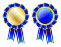 Blue rosette, badge with gold border, ribbon and golden laurel wreath isolated on white