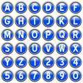Blue Round Alphabet Buttons Stock Photos