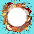 Blue round background with notes and musical instruments.