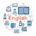 Blue round English Subject concept Royalty Free Stock Photo