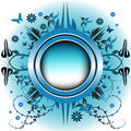 Blue rounded floral frame Stock Photos