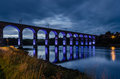 Blue royal border bridge the at berwick is a viaduct that supports the main east coast railway line over the river tweed Royalty Free Stock Photos